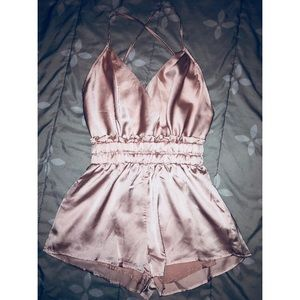 Other - NWOT silky pink romper